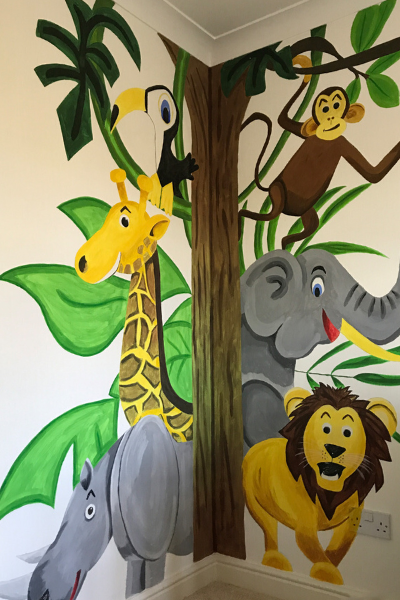 Wall Mural, Jungle Themed Nursery, Gender Neutral Nursery Design