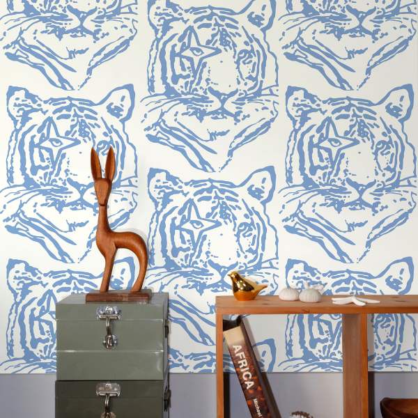 Blue Star Tiger wallpaper, nod to david bowie, perfect for kid's bedroom walls, as seen in rooomy magazine