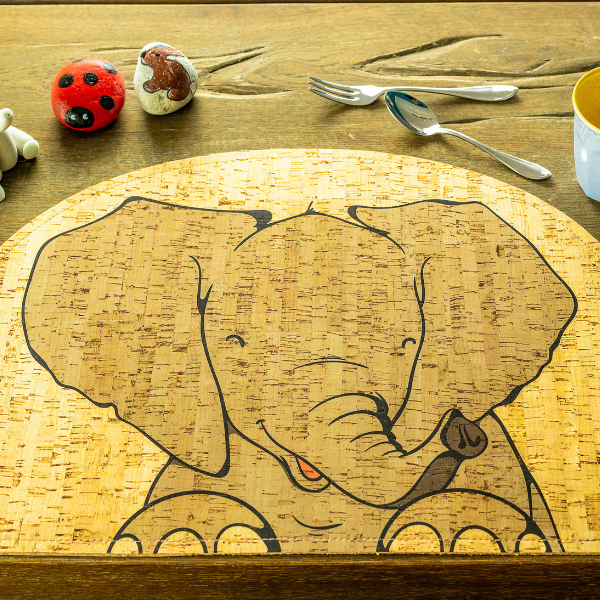 elephant cork placemat, rooomy magazine sustainability for kid's bedrooms