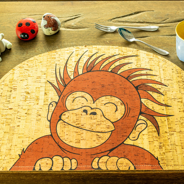 orangutan cork placemat, rooomy magazine sustainability for kid's bedrooms