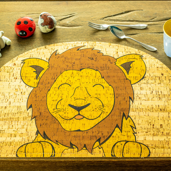 lion cork placemat, rooomy magazine sustainability for kid's bedrooms