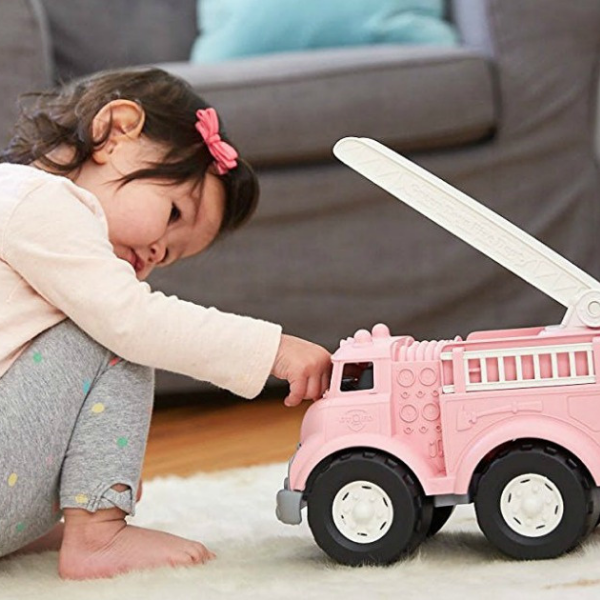 Green Toys pink fire truck for kid's play