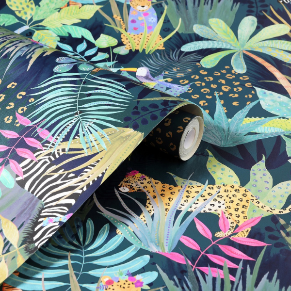 Hidden Jungle wallpaper by Art House Ltd as seen in rooomy magazine for kid's rooms