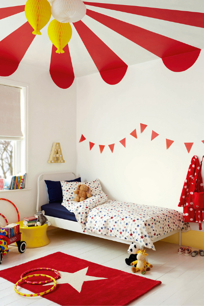 Circus theme bedroom by dulux as seen in rooomy magazine with expert tips from creative director
