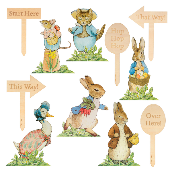 Peter Rabbit Easter Hunt Signs from Meri Meri for the family home featured by Rooomy Magazine