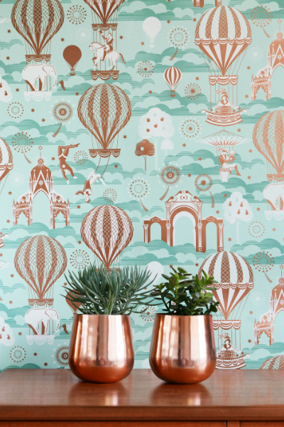 Pleasure gardens wallpaper design by Galerie, as seen in Rooomy magazine for kids' interiors