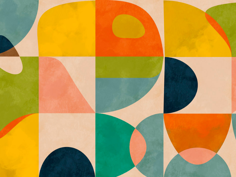 Mid Century Circles Wallpaper from Photowall as seen in Rooomy for kids' interiors
