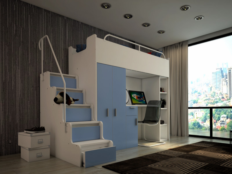 High Bed and Desk with Wardrobe