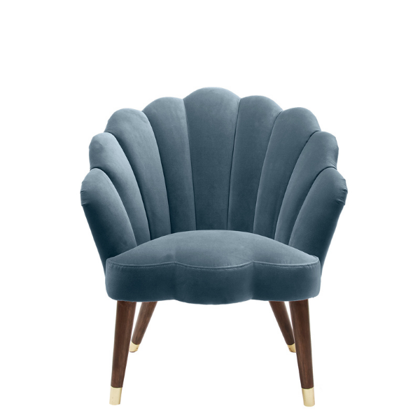Flora Scalloped Pale Bue Duck Egg Velvet Chair from Oliver Bonas as seen in Rooomy Magazine