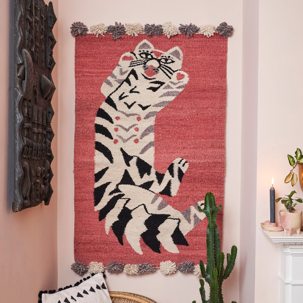 Woven Kenyan Rug Cat on Pink as seen in Rooomy Magazine