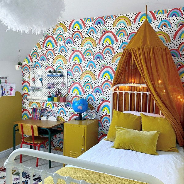 Girls Bedroom, colourful rainbows, as seen in rooomy magazine