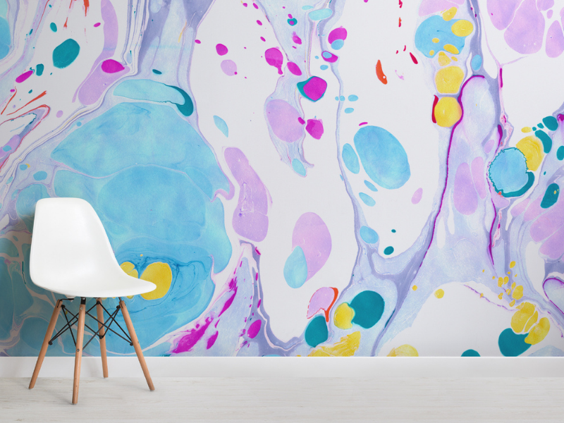 Bright Pastel Marbled Wallpaper for kids' bedrooms