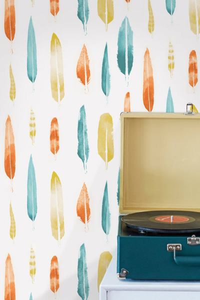 Feathers Wallpaper by Mini Moderns for Kid's bedrooms